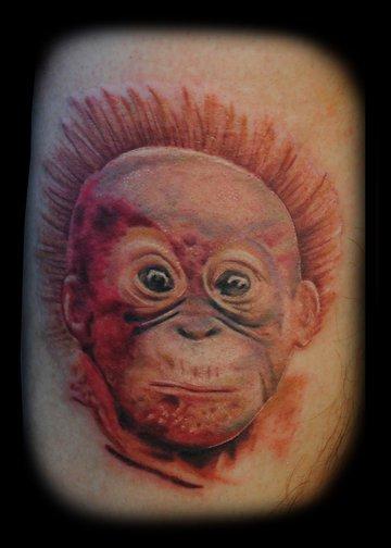 baby orangutan tattoo by danny fugate